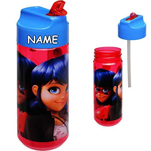 alles-meine.de GmbH Trinkflasche / Strohhalmbecher / Sportflasche - Miraculous - Ladybug und Cat Noir - inkl. Name - Tritan - BPA frei - 540 ml - auslaufsicher - Kunststoff Plast..