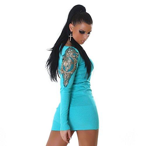 Jela London Long Pullover Kleid APARTES EDLES Design MIT Spitze GR 38-40