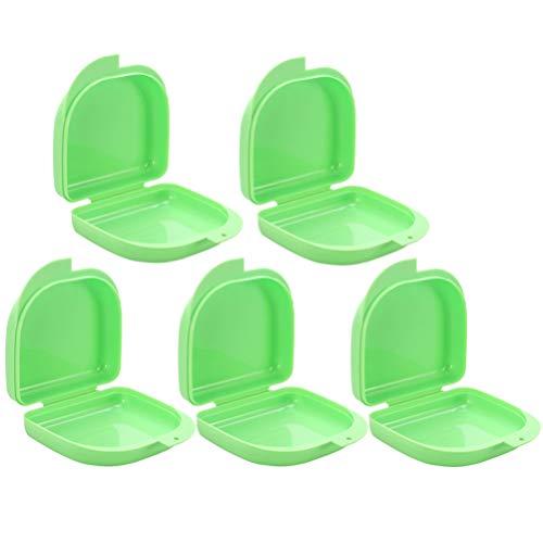 BESPORTBLE 5 Stk Zahnspangendose Aufbewahrungsbox Zahnprothesendose Zahnspangenbox Prothesenbox Prothese Teeth Aufbewahrungsbox für Aufbissschiene Mundschutz Zahnschutz Grün