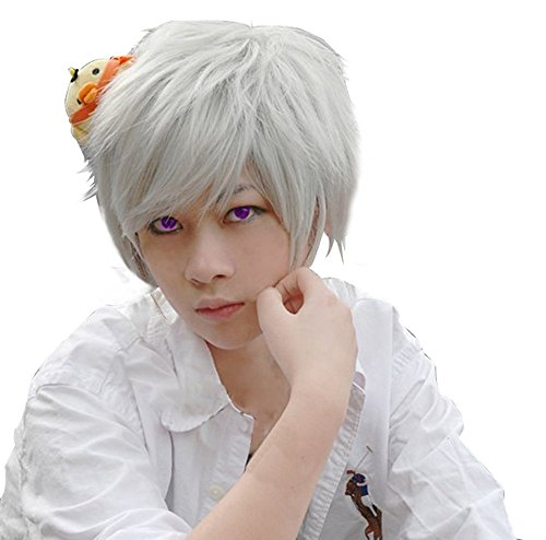 ANOGOL Anime Short Silver Cosplay Wig
