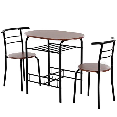 homcom Set 3 Pezzi Mobili da Bar, Ristorante, Casa - 2 Sedie (38x47.5x75cm) 1 Tavolo (80x50x76cm) in Metallo e MDF