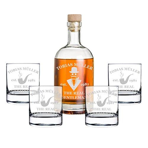 polar-effekt Set de regalo de 5 piezas con grabado – Botella de whisky y 4 vasos de whisky – Jarra de cristal contenido: 700 ml – Idea de regalo para hombres – Diseño a caballero