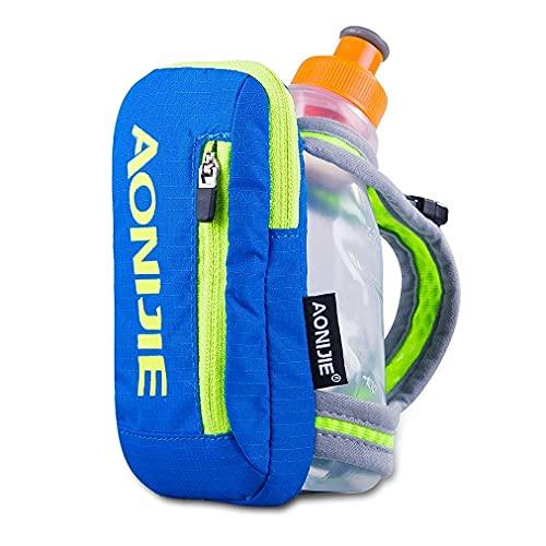Aonijie Hand-Trinkflaschen mit 250 ml Flasche, Handgriff, Aufbewahrungstasche, Trinkrucksack für Läufer, Wandern, Radfahren, Blau