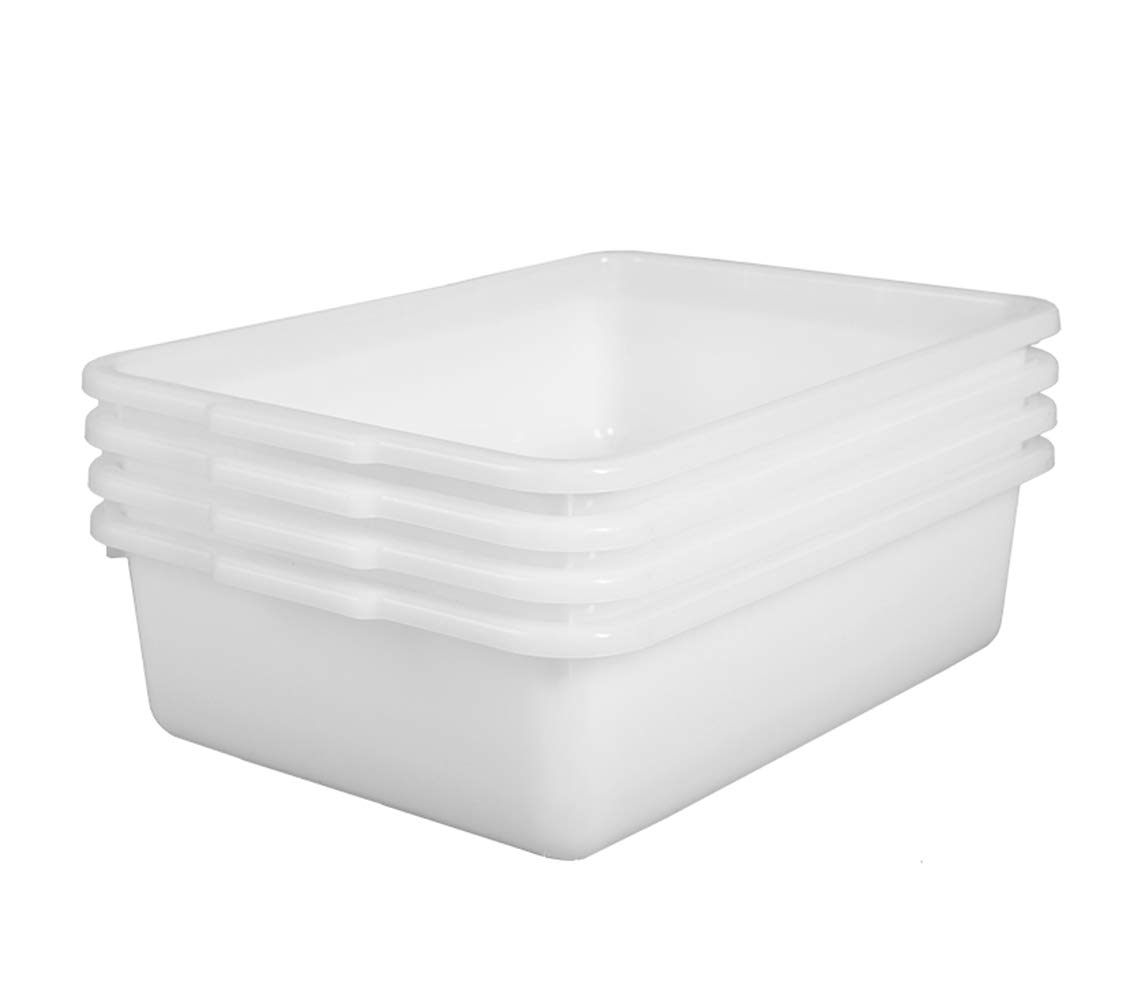 4-Pack Bus Box, 13 L Commercial Plastic Bus Tubs, White Wash Dish Basin