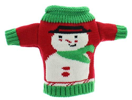 MIK Funshopping Geschenkverpackung für Weinflaschen, Weingeschenk, Flaschen-Deko Set, Flaschenkleidung, Weihnachts-Geschenk (Pullover Schneemann)