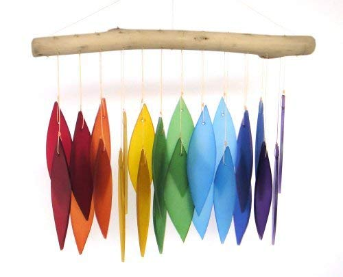 Blue Handworks Glas-Windspiel, in Regenbogenfarben