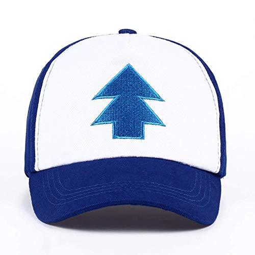 WULIAN Bordado del árbol de algodón Gravity Falls Dibujos Animados de EE. UU. Mabel Dipper Pines Cosplay Gorras de béisbol Frescas Sombrero Deportivo Ajustable, Azul