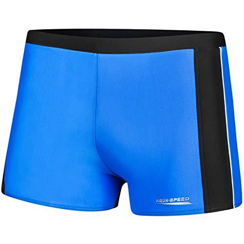 Aqua-Speed Jason Pantalon de Natation pour Hommes   Tissu Malaga   Protection UV   18. tuyauterie Bleue - Grise - Blanche   Taille: L
