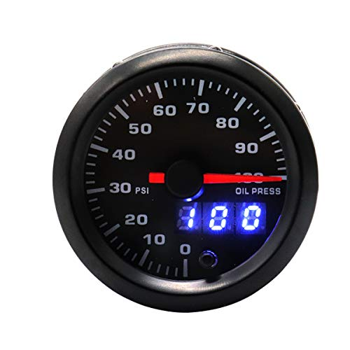 VOSAREA Strumento Auto Auto modificato 12 V 2 Pollici retroilluminazione a Colori Regolabile 0-100psi misuratore di Pressione Olio Auto Meter (Nero)