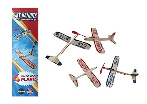 Balsa Wood Airplane Gliders And Propeller Plane Toys Set - 2 Wooden...