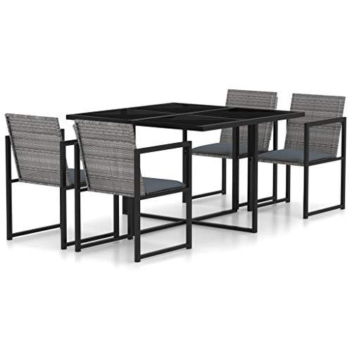 vidaXL Gartenmöbel 5-TLG. mit Kissen Sitzgruppe Gartengarnitur Gartenset Sitzgarnitur Esstisch Gartentisch Tisch Stühle Poly Rattan Grau