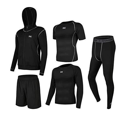 NCFBAG コンプレッションウェア セット スポーツウェア メンズ 長袖 半袖 抗菌防臭 吸汗 速乾 ランニングウェア スポーツtシャツ ジャージメンズ上下 3点/5点 運動着 スポーツうぇあ ハーフパンツ (黒&黒 5点セット, XL)