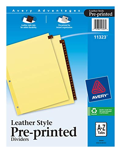 Avery Leather PrePrinted Tab Dividers Clear Reinforced 85 x 11 Inches AZ Tab Red 11323
