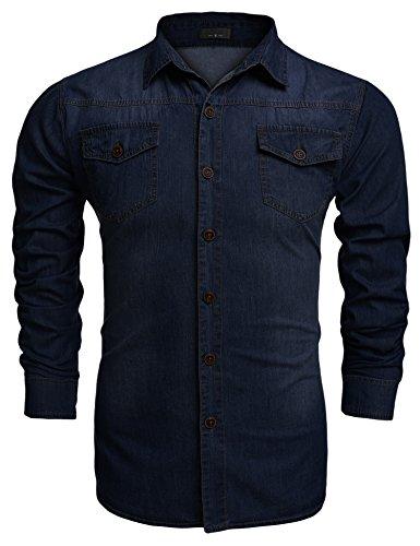 Burlady Jeanshemden Herren Langarm Denim Hemden Freizeit Shirts Regular Fit Hemden (S, A-Dunkelblau)