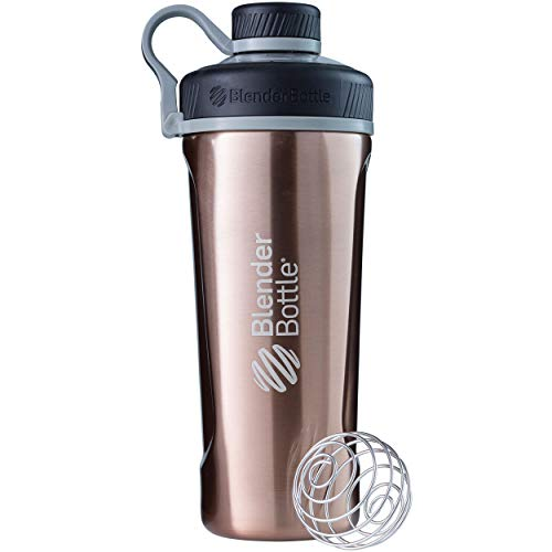 BlenderBottle Radian Edelstahl Trinkflasche, Thermoflasche mit BlenderBall, geeignet als Wasserflasche, Protein Shaker und Fitness Shaker, BPA frei, Doppelwandig, Vakuum isoliert - kupfer (770ml)