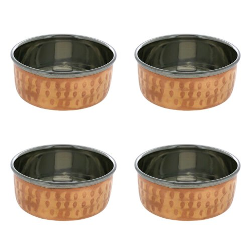 ShalinIndia Handmade Indian Katori Serving Bowls Dishes - Set of 4 Copper Bowls - Traditional Dinner Cooking Utensils - Unique Copper