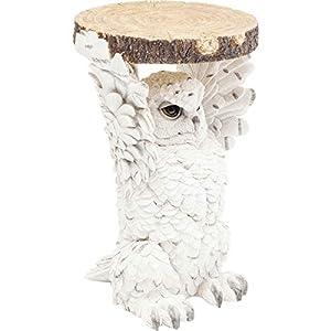 Kare Design Beistelltisch Animal Eule  Ø35cm, kleiner, runder Couchtisch, Holzoptik, Tierfigur als ausgefallener Wohnzimmertisch, (H/B/T) 52x35x33cm