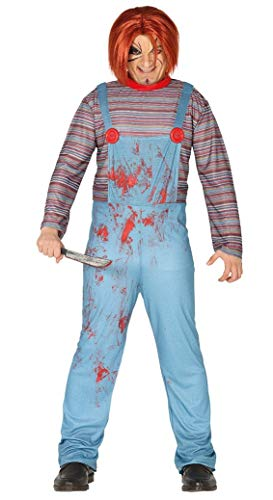 FIESTAS GUIRCA - Disfraz de mueca Assassina Chuckie Adulto, Color Azul y Rojo, L, 88366