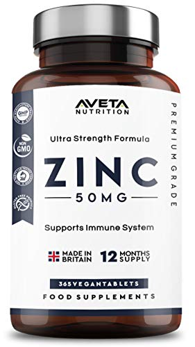 Zinc Gluconate 50mg 365 Tablets 12 Month's Supply, Advanced Strength Formula, for Maintenance of Normal Immune System, Skin, Hair, Nails, Bones, Vision Made in The UK by Aveta Nutrition