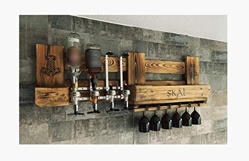 WIKINGER BAR mit Getränkespender Personalisiert SKAL und Hammer mit ALKOHOLSPENDER Wandregal Flaschenhalter Met Odin Thor Bar groß aus Paletten Holz, Geschenk