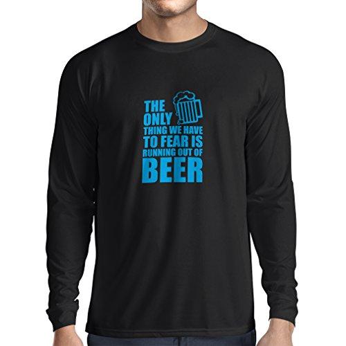 Camiseta de Manga Larga para Hombre Tener Miedo de no Tener una Cerveza - para la Fiesta, Bebiendo Camisetas (Large Negro Azul)