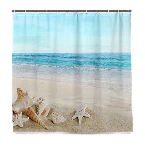 DZGlobal Seashell Starfish Beach Themed Shower Curtain with Hawaiia Tropical Sea Waves Blue Sky and Seaside Scene Polyester Fabric Shower Curtains Set with 12 Free Hooks Bathroom Decor 72x72 Inch