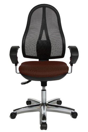 Topstar Open Point SY Deluxe, ergonomischer Syncro-Bandscheiben-Drehstuhl, Bürostuhl, Schreibtischstuhl, inkl. Armlehnen (höhenverstellbar), Stoff, dunkelbraun