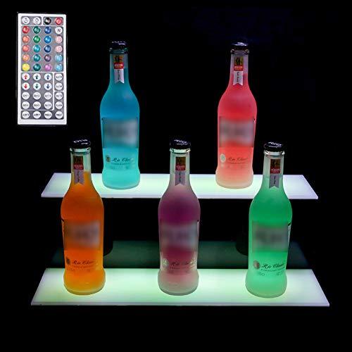 Bebidas Estantes De IluminacióN 2 Tier LED Botella del Licor Pantalla Iluminada Botella con Control Remoto 20 Colors para Estantes De IluminacióN De Botellas De Home Bar,20in