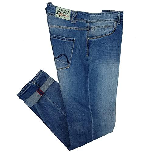 Alfio Jeans Uomo Elasticizzati Taglie Forti Denim Slim Fit Gamba Stretta 56 58 60 62 (62 - Denim)