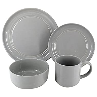 Safdie & Co. HK02631 Stoneware Ridge Dinnerware Set, Grey