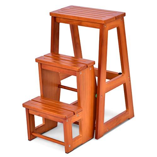 COSTWAY Leiterstuhl Tritthocker Trittstuhl Trittleiter Haushaltsleiter Hockerleiter, aus Massivholz, klappbar, 3 Stufen (Natur)