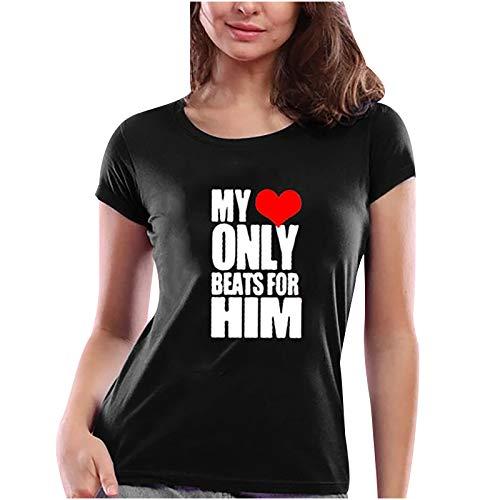 YANFANG Camiseta de Manga Corta Día de San Valentín Casual Mujer con Estampada de Letra y corazón con Cuello Redondo con Buen cálido