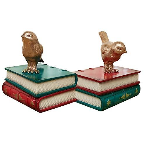 Extremos De Libros, Sujetalibros De Resina De Colores, Pájaros Y Libros Decorativos Retro, Extremos De Libros, Soporte De Estante Para Libros Sujetalibros Decorativo Para El Hogar-B