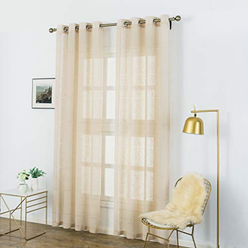 Aquazolax Linen Semi Sheer Curtains Striped Window Voile Panels Premium Hall Dining Room Curtains Drapes, Set of 2, 52 Inch x 84 Inch, Beige