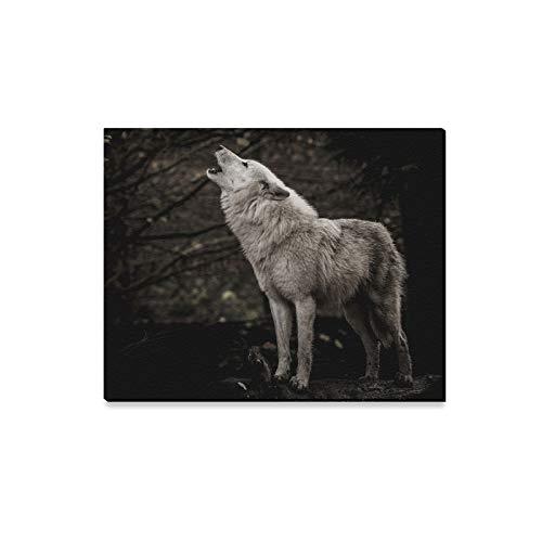 XiexHOME Schlafzimmer Wandfarbe Wolf Howling Color Painting Gemälde für Wände Esszimmer Wandkunst Druck Dekor für Zuhause 20x16 Zoll