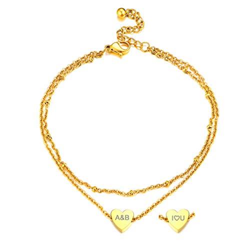 PROSTEEL Bracelet de Cheville Plaqué Or Double Chaîne de Pied Femme Coeur Personnalisable Rolo Chain 22+5cm Dorée Bijoux Fantaisie pour Fille Accessoire d'Été