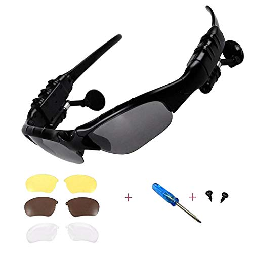Wireless Bluetooth Sunglasses Anti-ray Stereo 4.1 Music Bluetooth Headphones for Men Support Both Headset and Hands-Free for All Kinds of Cell Phones (Black-Gray)