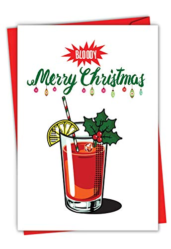 The Best Card Company - Funny Pun Christmas Card with Envelope - Fun Happy Holiday Humor, Greeting Notecard - Bloody Merry C7129XSG
