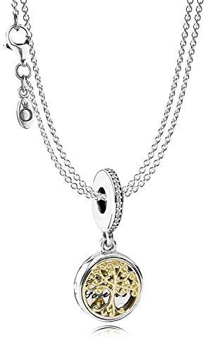 Pandora Silber-Halskette mit Anhänger Familien-Stammbaum eleganter Halsschmuck für Damen, wunderschönes Geschenk-Set für modische Frauen, 08381
