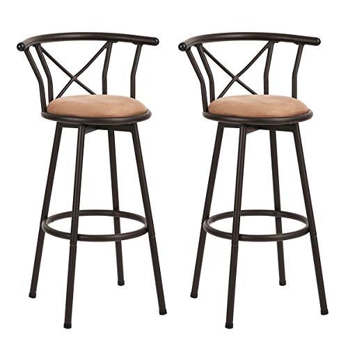 Taburete de bar Juego de 2 sillas de bar Taburetes de bar industriales de estilo vintage con reposapiés Diseño Espuma de 29 pulgadas acolchada para sala o cocina