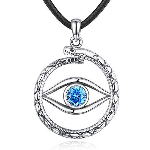 Eusense Collar Evil Eye, Collares Serpiente Plata Esterlina 925, Colgante Ojos Azules, Regalo Joyería Tercer Ojo para Mujer Hombre con Cordón Cuero 24'