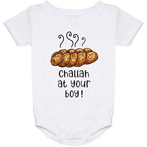 DST Apparel Co Challah at Your Boy Jewish Baby Boy Bodysuit, Baby's First Hanukkah Jumpsuit, Pregnancy Announcement Gift White
