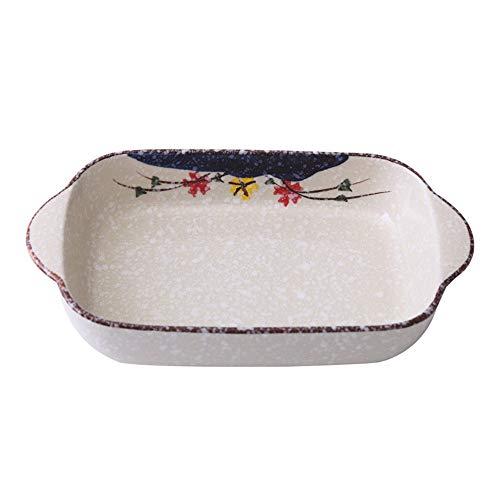 HXiaDyG keramische ovenschaal, antislip, dubbele oorgreep, bakplaat, duurzaam keramische glazuur, ideaal voor het koken, keuken, cake, banketten, eenvoudig te reinigen