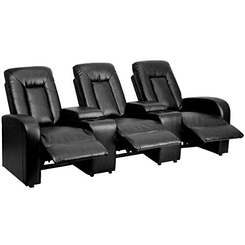 Flash Furniture Eclipse Series 3-Seat Reclining Black Leather Theater Seating...