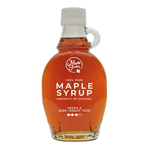 MapleFarm Ahornsirup Grad A - DARK - 189 ml (250 g) - ahornsirup Kanada - pancake sirup - ahorn sirup - kanadischer ahornsirup - pure maple syrup - reiner ahornsirup - maple syrup