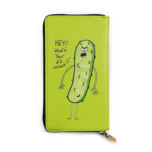 Ahdyr Angry Pickle Leather Long Wallets Passport Wallet Geldbörse wechseln