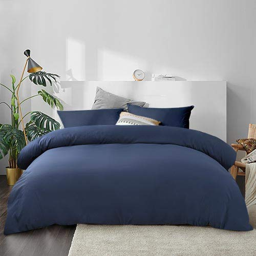 EMONIA Duvet Cover Set 1800 Series Queen Size Zipper Closure Duvet 3 Pieces Quilt Comforter Protector Cover & 2 Pillow Shams Wrinkle Fade Resitant (NO Duvet or Pillow) (Queen, Navy Blue)