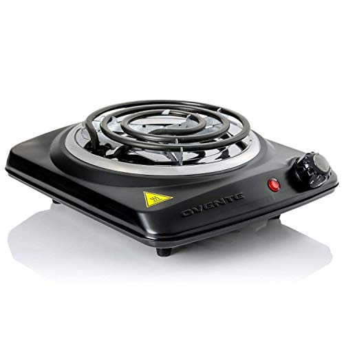 Ovente Electric Single Coil Burner 6 Inch Hot Plate 1000 Watt Powered Portable Kitchen Cooktop with Adjustable Temperature Control & Non-Slip Rubber Feet, Perfect for Outdoor Grill, Black BGC101B