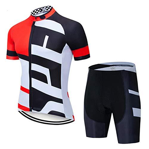 Maillot Ciclismo Corto De Verano para Hombre, Respirable Secado Rápido Ciclo Jersey De Manga Corta + 9D Almohadilla De Gel Culote (Red,S)