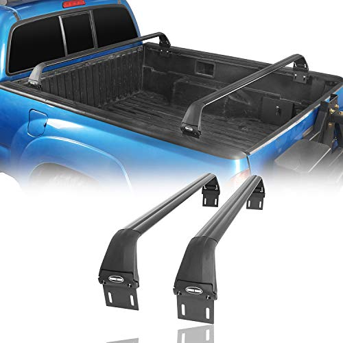 Hooke Road Truck Bed Bike Rack Crossbar Rail Kayaks Load Cargo Carrier Compatible with Toyota Tacoma 2005-2021 2 and 3 Gen